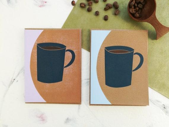 SALE: Handprinted linocut abstract coffee or tea card