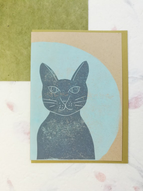 SALE: Handprinted linocut cat and moon card