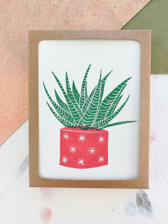 Boxed set of 6 - Linocut succulent in red pot cards