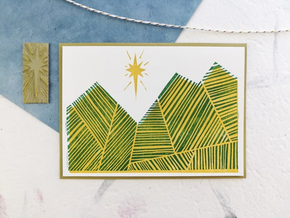 Abstract linocut holiday mountains card