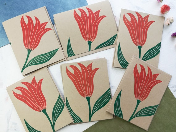 Boxed set of 6 - flowing tulips linocut cards - one of a kind set