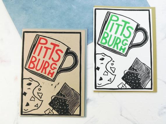 SALE: Handprinted linocut Tea in Pittsburgh card