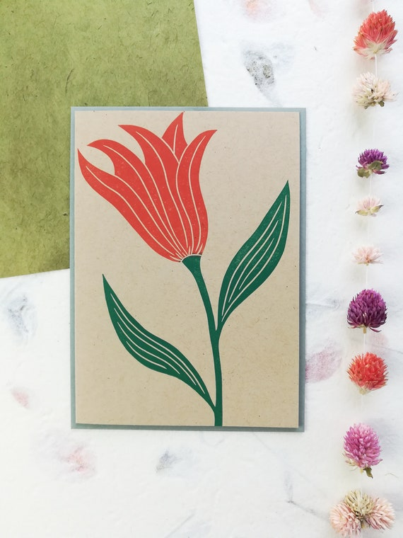Handprinted tulip linocut card