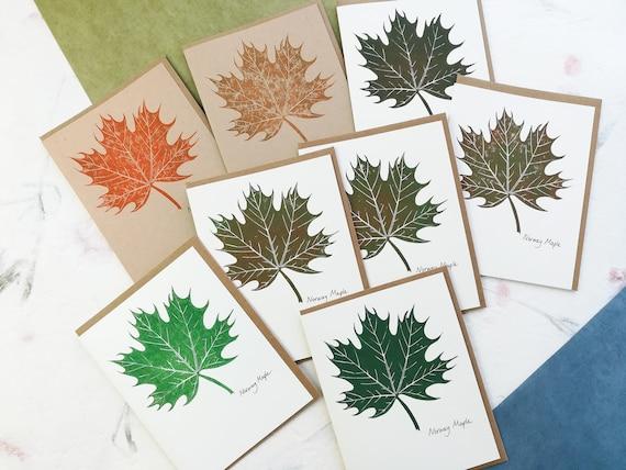 SALE: Handprinted linocut Norway Maple card