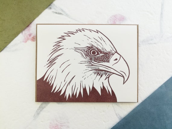 Bald eagle linocut greeting card - A2 size