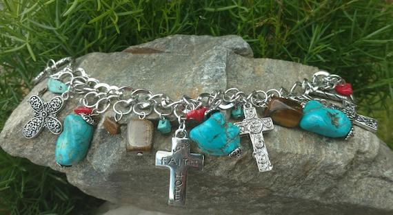 Turquoise Charm bracelet, Bracelets, Cross Jewelry