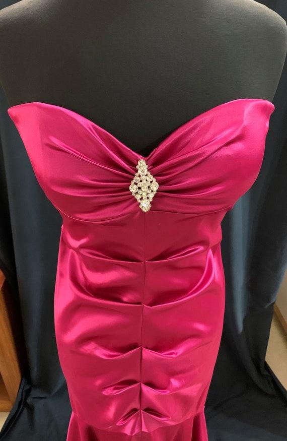 90s Magenta Pink Maxi Dress Mermaid Formal Escape… - image 4