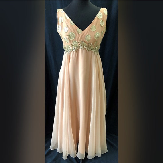 60s Gold & Blush Vintage Dan Lee Couture Dress Chi