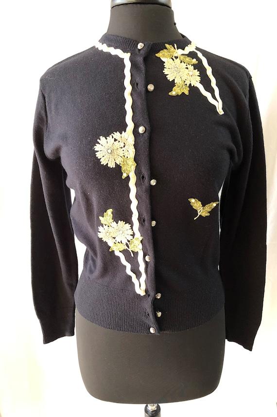 50s 60s Vintage DeadStock Black Cream Floral Beade