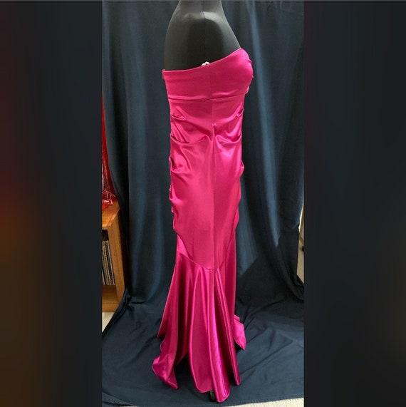 90s Magenta Pink Maxi Dress Mermaid Formal Escape… - image 2