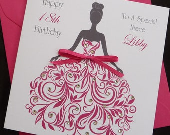 PERSONALISED Handmade Birthday Card ANY Age Name Relationship Lady In Pink 13th 14th 15th 16th 18th 21st 30th 40th Etc 2503