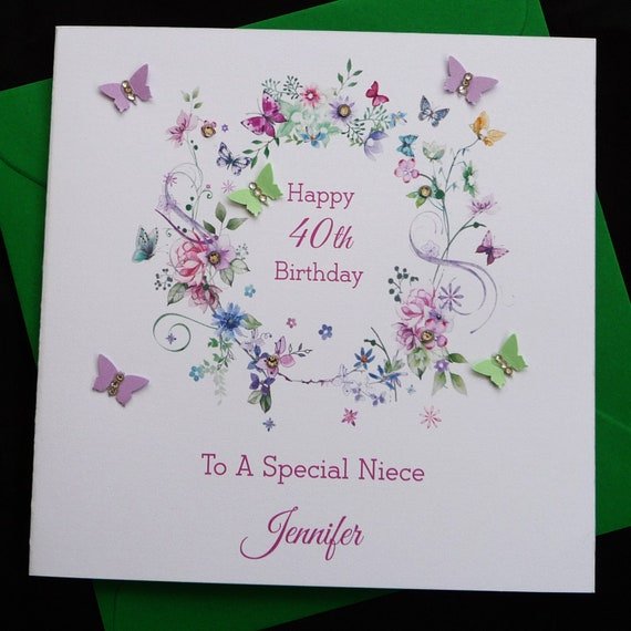 Personalised Handmade Bright Flowers Birthday Card Any age or any relation