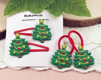 Tannenbaum Kinder Haarspange Haargummi Winter Haarclip Zopfgummi Geschenk für Adventskalender Nikolaus Wichtel Weihnachten