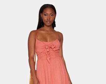 9431bd73f9f Yvette Double-Knot   Spaghetti Strap Midi Dress   In Coral For Women