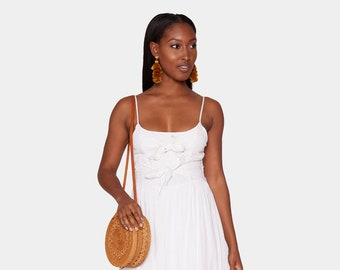 011325ccf47 Yvette Double-Knot   Spaghetti Strap Midi Dress   In White For Women
