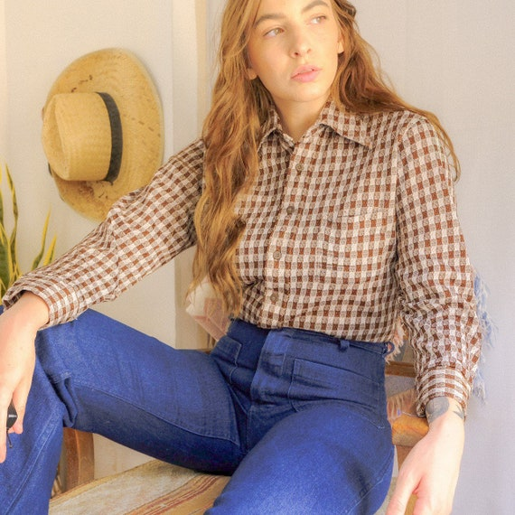 Vintage 70s checkered button up shirt