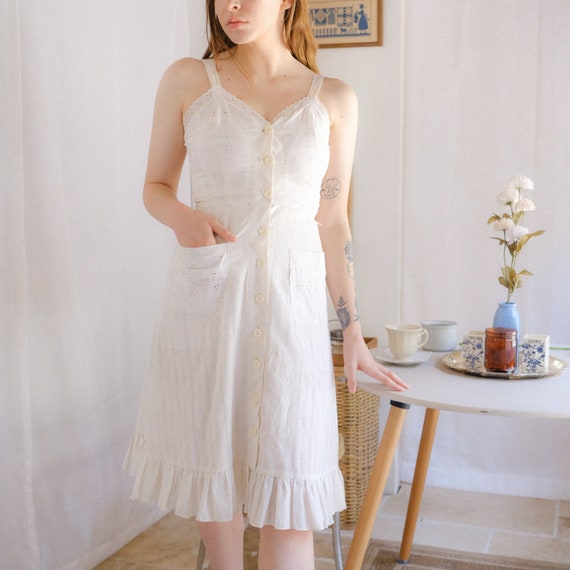 Vintage Eyelet Cotton Dress - image 3