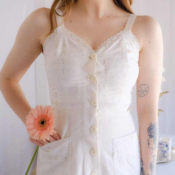 Vintage Eyelet Cotton Dress - image 2