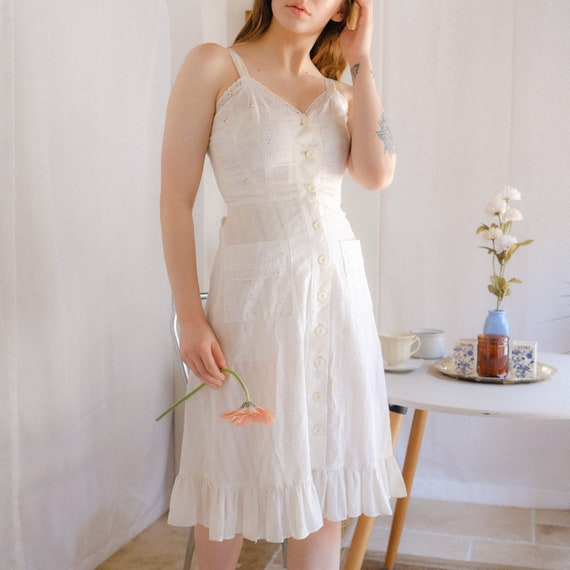 Vintage Eyelet Cotton Dress - image 4