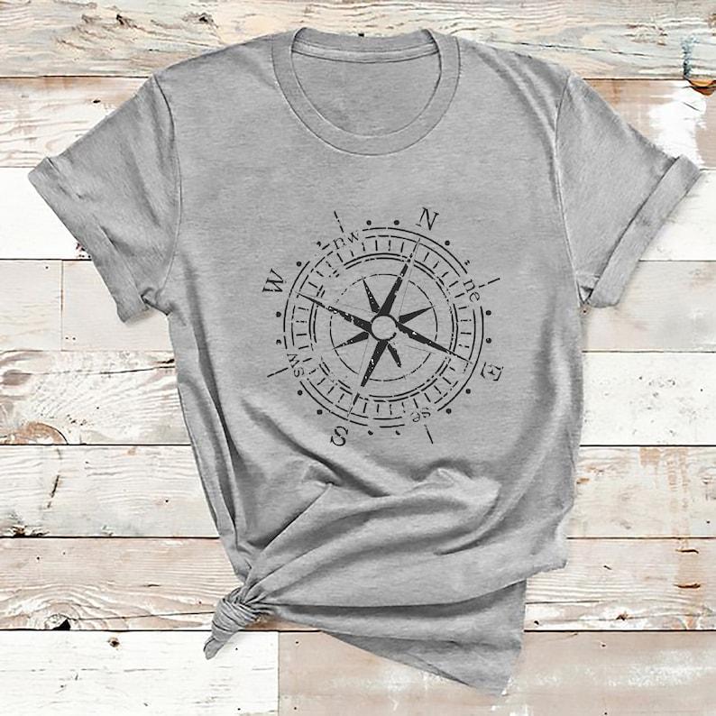 Vintage Sailing Compass Tee Shirts Retro Compass Wind Rose T Shirt