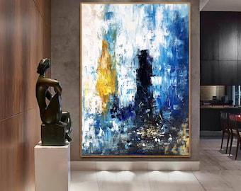blue painting, large canvas wall art, original abstract oil painting, modern abstract art, contemporary wall art, original artwork H204