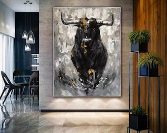 extra large abstract art, textured abstract painting on canvas, original OX artwork, large canvas wall art, bull painting on canvasH643