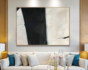 black and white painting, abstract canvas art, original abstract oil painting, textured wall art, modern abstract painting on canvas H56