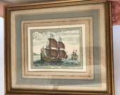 ANTIQUE ENGRAVING P. F.H. BRUEGEL Print Color 18th Century Ship Le Depart Rare Limited Edition Print Collectible