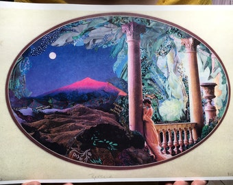 """Art Print of Dream Scape Original Collage by Deco of """"Reverie"""" - oval presentation, """"Nothing is Impossible"""""""