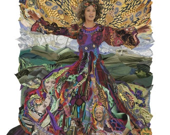 """Celebrating Women - Giclée Print of Original Collage by Deco """"Hannah Exulting"""" Woman of the Bible, Sorrow transformed to Joy"""