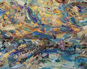 """Giclee Print of Original Collage by Deco """"Too Far Out"""" featuring poetry by Stevie Smith, Water from the Elements series, thought-provoking"""