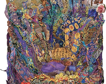 """Colorful Dreamy Giclée Print of Original Collage by Deco """"What Dreams May Come"""" Ladder to heaven vision, Lilliputian reverie"""
