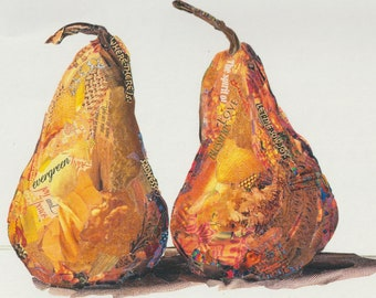 """Art Print of Original Collage by Deco of Lovely Pair of Pears, titled """"So, Joy"""""""