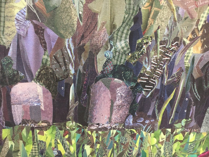 slate blue sage green Gicl\u00e9e Print of Intriguing Original Collage by Deco red. evocative meaningful The Greeting mysterious Wow