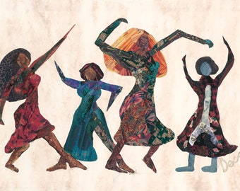 Four Dancers - Iconic vibrant image of Paper Collage by Deco in Giclée Print, numbered and signed by artist