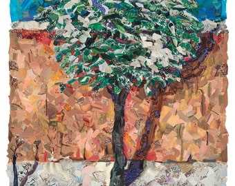 """Snowy tree in New Mexico """"Serenity"""" Available as Giclee Print in two sizes from Original Collage by Deco"""