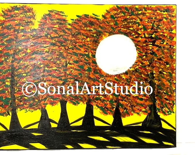 Featured listing image: Fall Painting, Landscape Painting, Fall Foliage, Anniversary Gift for Parents
