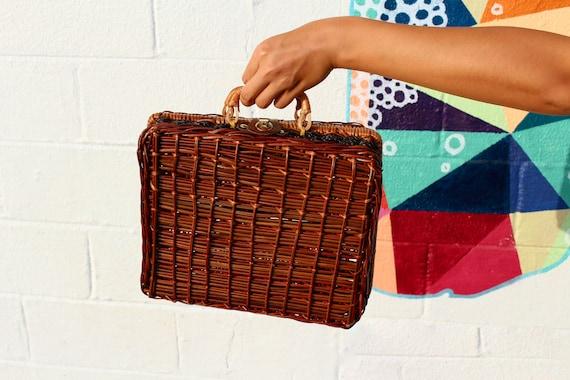 60s Vintage Wicker Basket Bag Top Handle Box Purse