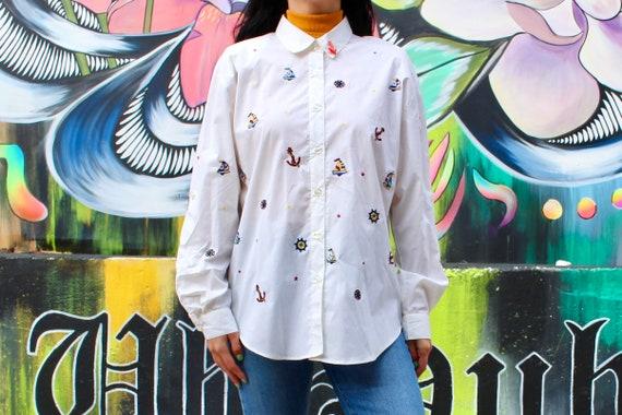 90s Vintage Shirt Nautical Shirt White Long Sleeve
