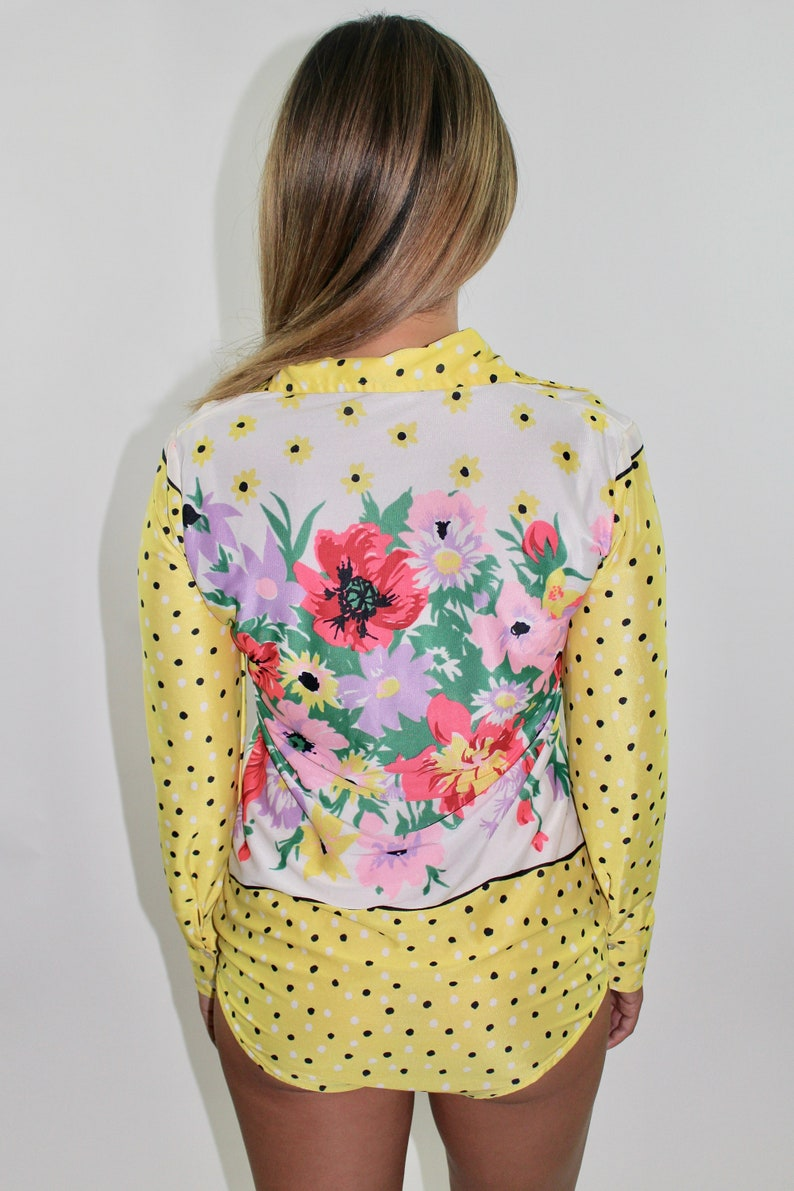 Vintage 1970s Long Sleeve Bodysuit 70s Retro Yellow Catsuit Polka Dots Floral Print Collared Top Nylon Size M Medium S Small