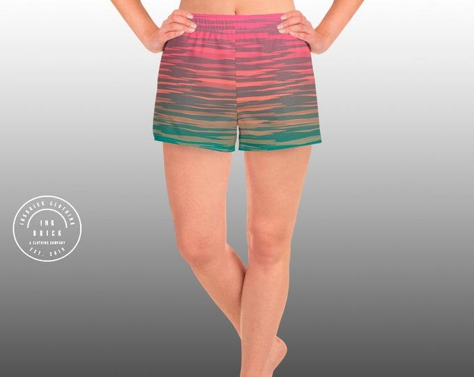 WOMENS WORKOUT SHORTS Colorful Gym Clothing Work Out Shorts Women's Athletic Short Shorts Striped Shorts Festival Shorts Yoga Bottoms