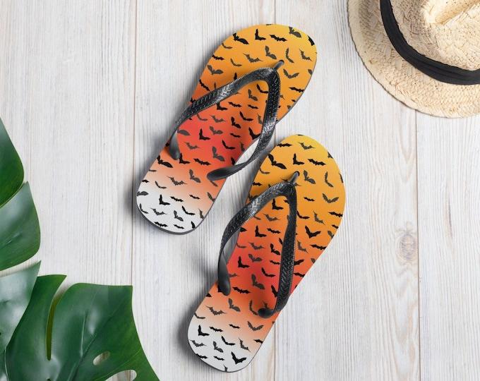 Flip-Flops Halloween FLIP FLOPS BAT Print Flip-Flops Thong Sandals Footwear for Men or Women Unisex Clothing Shoes Slide on Flip Flops