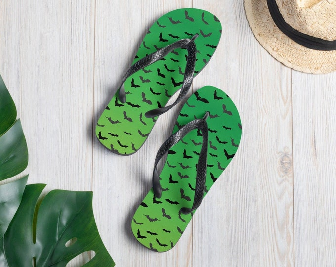 NEON GREEN BAT Flip-Flops Halloween Bat Print Thong Flip Flops Sandals Thong Sandals Shoes for Men or Women Unisex Footwear Casual Slippers