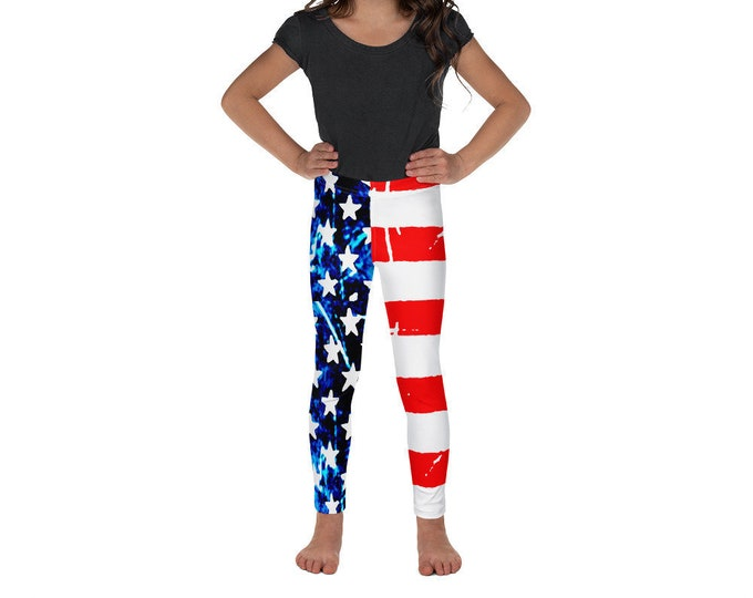 AMERICAN FLAG Leggings USA Leggings Patriotic Leggings Kids Leggings Youth Leggings Baby Leggings Red White and Blue Stars and Stripes Pants