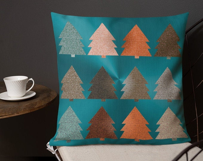 CHRISTMAS TREE PILLOW Home Decor Square Pillow with Insert Vintage Christmas Tree Decorative Throw Pillow Home Decor Premium Pillow for Home