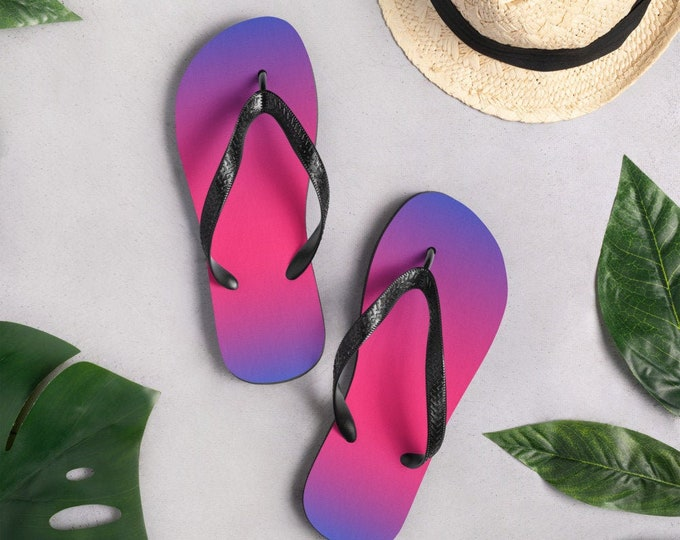 Pink and Purple Thong Flip-Flops OMBRE FLIP-FLOPS Festival Clothing Rave Clothing Unisex Flip-flops for Women Men Sandals Footwear Beachwear