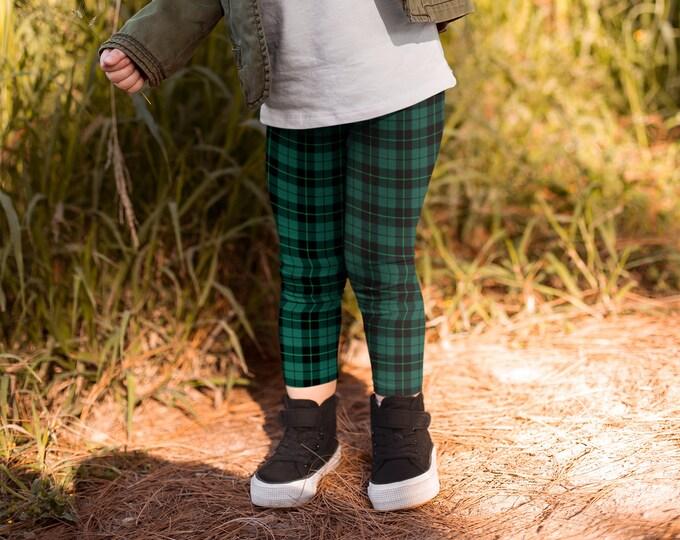 TARTAN PLAID LEGGINGS Youth Leggings for Kid's Leggings Green Tartan Plaid Blue Green Plaid Leggings Toddler Leggings Baby Leggings Girls