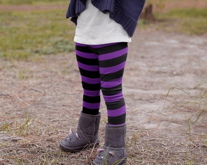GIRLS WITCH LEGGINGS Halloween Leggings Striped Leggings for Girls Baby Leggings Toddler Leggings Youth Leggings Kid's Leggings Costume