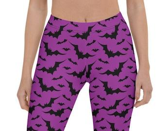 HALLOWEEN LEGGINGS WOMENS Bat Print Leggings Purple and Black Bat Leggings Womens Yoga Pants Yoga Leggings Women's Regular & Plus Sizes
