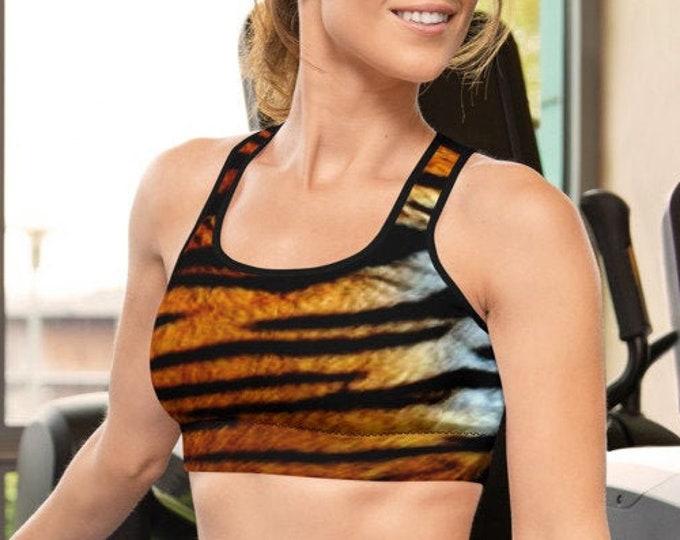 TIGER BRA Womens Sports bra - Bralette - Work out Bra - Crop Top - Tiger Print Crop Top Tiger Stripe Top - Sexy Top Yoga Top - Animal Print